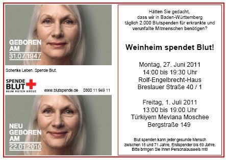 Blutspenden rettet Leben. Zwei Termine in Weinheim.