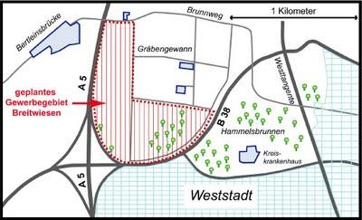 Darum gehts: Links in rot liegt das Gewann Breitwiesen. Hier soll Amazon ein riesiges Logistikzentrum planen. Rechts daneben liegt das Gewann Hammelsbrunnen, dessen Flächentausch der Gemeinderat am 19. Oktober 2011 beschlossen hatte. Bild: blogspot.breitwiesen.com
